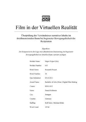 Virtuelle Realität als Forschungsgebiet